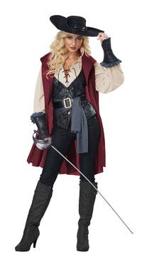 Lady Musketeer Costume - Black/Burgundy