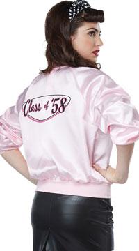 50's Satin Varsity Jacket - Pink