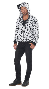Men's Dalmatian Hoodie Costume - White/Black