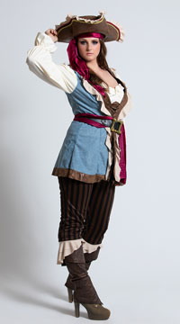 Plus Size Jewel Of The Sea Costume - Blue/Brown