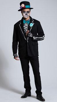 Men's El Novio Muerto Costume - Black/Turquoise