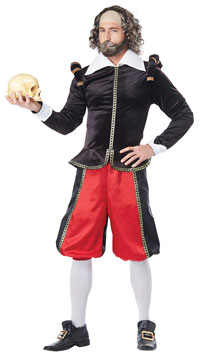William Shakespeare Costume - Black/Red