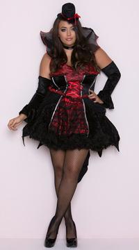 Plus Size Transylvanian Temptress Costume - Black/Red