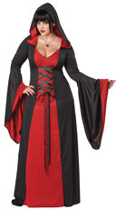 Plus-Size Red Hooded Robe Costume - Red/Black