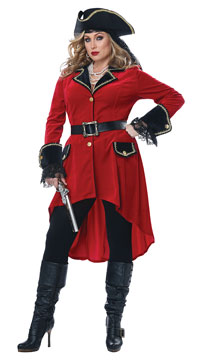 Plus Size High Seas Heroine Costume - Red/Black