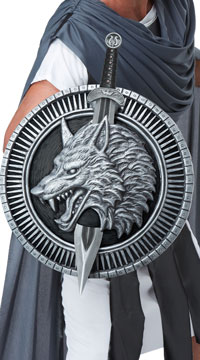 Wolf Master Warrior Sword and Shield - Silver/Black