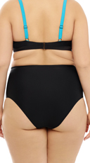 Plus Size High Waisted Eighties Pulse Bikini Bottom - Turquoise
