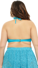 Plus Size High Neck Crochet Bikini Top - Turquoise