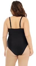 Plus Size Mesh Me One Piece Swimsuit - Black