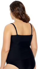 Plus Size Mesh Me Tankini Top - Black