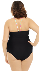 Plus Size Rainbow Blast One Piece Swimsuit - Black
