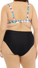 Plus Size Tie-Dye and Black Bikini Bottom