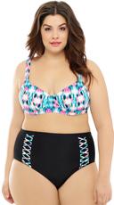 Plus Size Tie Dye Abstraction Bikini Top