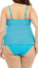 Plus Size Basic High Waisted Bikini Bottom - Turquoise