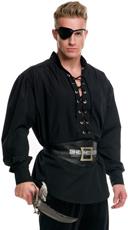 Men's Eyelet Pirate Shirt - Black