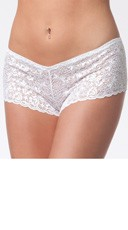 Plus Size Lace Booty Shorts - White