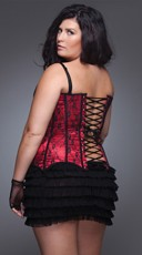 Plus Size Lace and Satin Corset - Red/Black