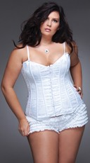 Plus Size Lace and Satin Corset - White