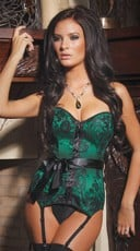 Emerald Satin Corset - Green/Black