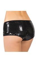 Plus Size Sequin Black Booty Shorts - Black