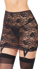 Black Lace High Waisted Garter Skirt - Black
