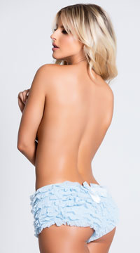 Ruffle Shorts with Back Bow - Blue