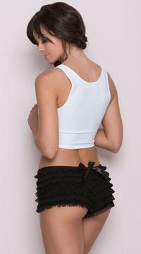 Ruffle Shorts with Back Bow - Black