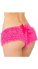 Ruffle Shorts with Back Bow - Hot Pink
