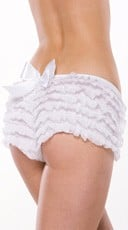 Ruffle Shorts with Back Bow - White