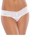 Mesh and Lace Crotchless Thong - White