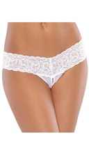 Plus Size Mesh and Lace Crotchless Thong - White