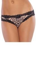 Leopard Print Crotchless Panty - Brown/Leopard Print