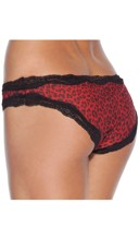 Plus Size Animal Print Crotchless Panty - Red/Leopard