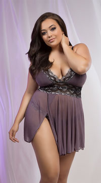 Plus Size Mad About Mauve Babydoll Set - Mauve/Black