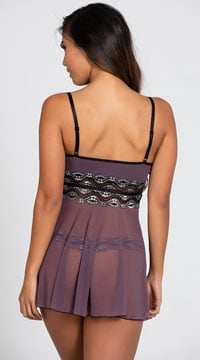 Mad About Mauve Babydoll Set - Mauve/Black