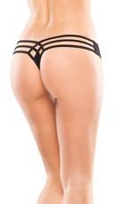 Plus Size Strappy Thong - Black