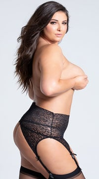 Plus Size Black Lace High Waisted Garter Belt - Black