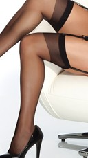 Plus Size Sheer Thigh High Stockings - Black