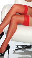 Plus Size Sheer Thigh High Stockings - Red
