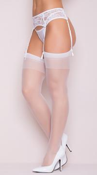 Sheer Thigh High Stockings - White
