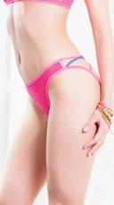 Plus Size Netty Neon Crotchless Bikini Panty - Neon Pink/Blue