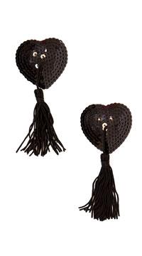 Heart Shaped Sequin Pasties - Black/Black Tassel