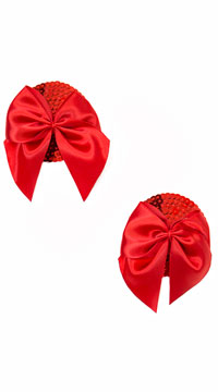 Red Sequin Pasties With Red Bows - Red