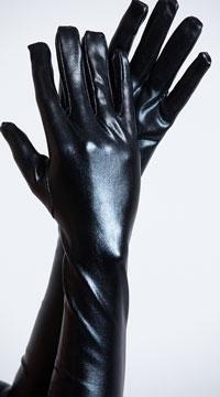 Shiny Black Gloves - Black