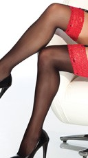 Red Lace Top Thigh High Stockings - as shown