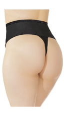 Plus Size High Waisted Thong - Black