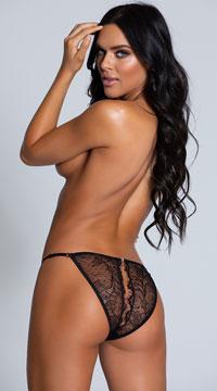 Open Back Eyelash Lace Panty - Black