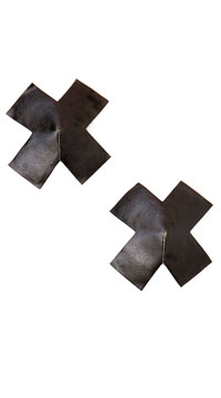 Cross Shaped Leather Pasties - Black