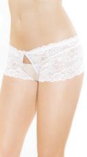 Flirty Lace Crotchless Panty - White