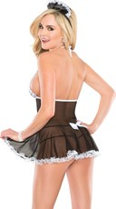 Mesh French Maid Lingerie Costume - Black